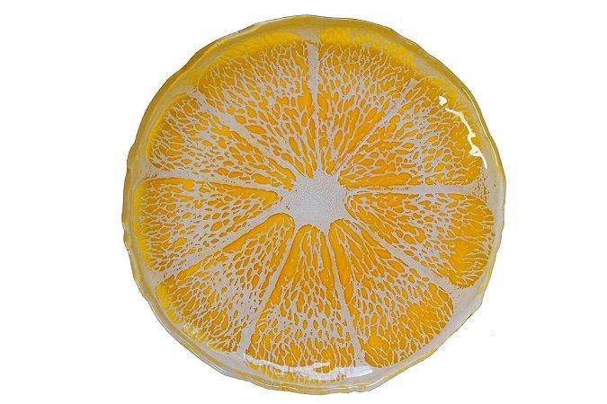 Prato Sobremesa Vidro Arda Citrus Amarelo 22 cm