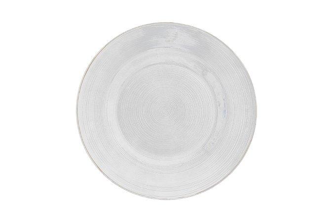 Prato sobremesa Circle vidro com borda prata incolor 21 cm