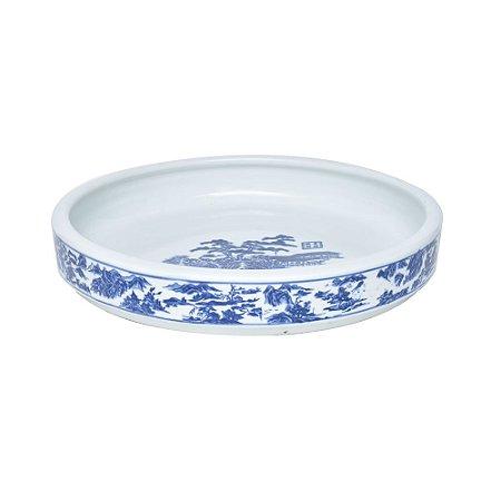 Travessa cerâmica azul e branca