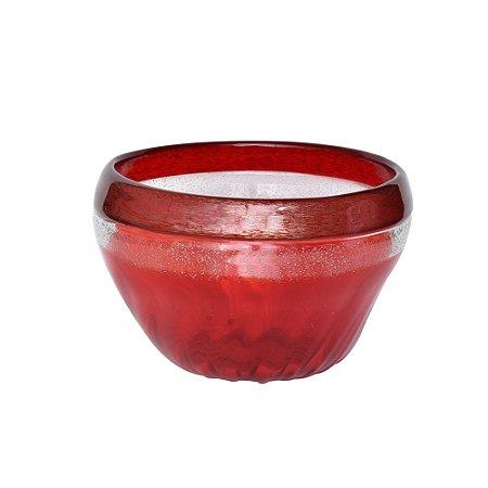 Vaso Vidro Vermelho com Bordas Douradas