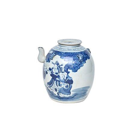 Pote de Cerâmica com Tampa Azul e Branco
