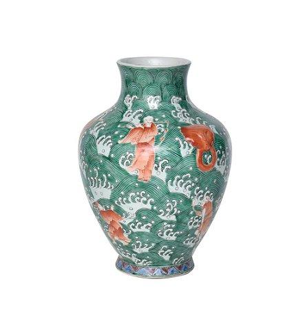 Vaso Cerâmica Desenhada Verde