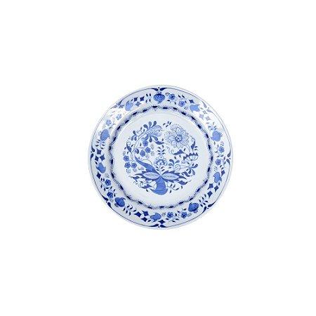 Prato Sobremesa Pintado Azul e Branco