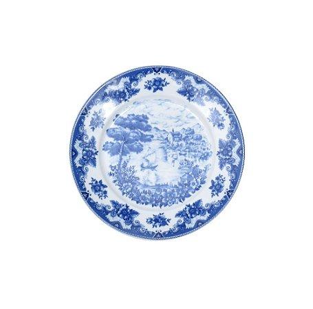 Prato Sobremesa Azul e Branco