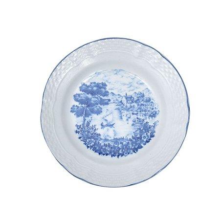 Prato Sobremesa bordas brancas e centro azul