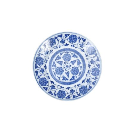 Prato Raso Azul e Branco