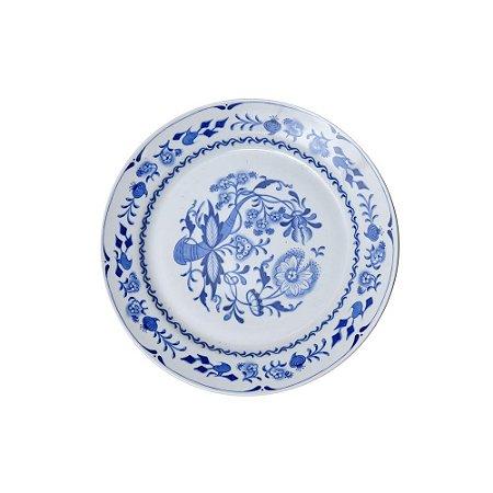 Sousplat Cerâmica Pintada Azul e Branco
