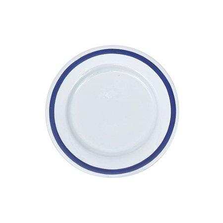 Sousplat Cerâmica Branca com Borda Azul