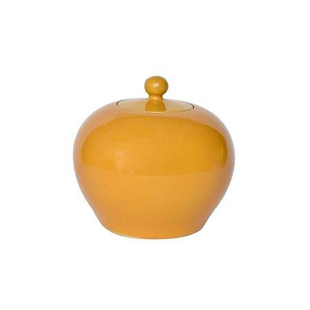 Pote Cerâmica Amarela com Tampa