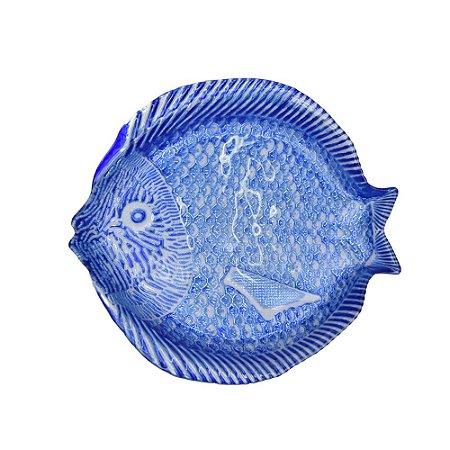 Prato Aperitivo Peixe Vidro Azul e Branco