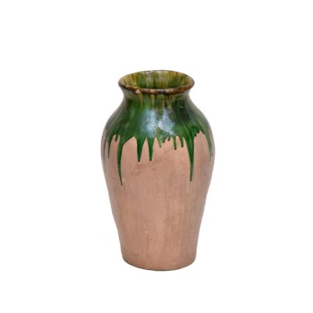 Vaso Cerâmica Terracota com Bordas Verdes