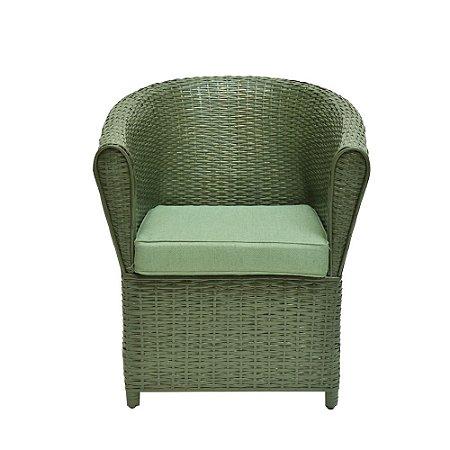 Poltrona de Vime Celadon Assento Tecido Verde