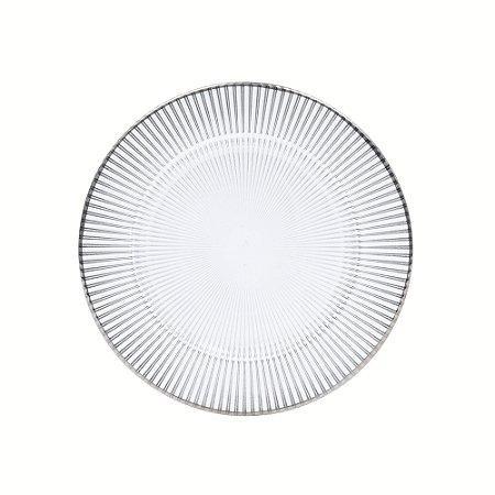 Prato sobremesa raso vidro Luce com borda prata 21 cm