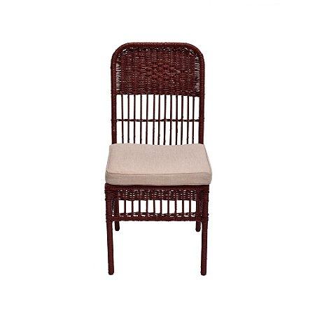 Cadeira Vime Vermelha Assento Tecido Crú