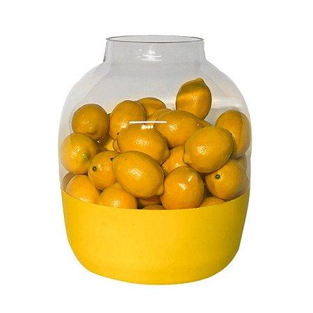 Vidro Decorativo Transparente com Faixa Amarela e limões Siciliano Artificiais