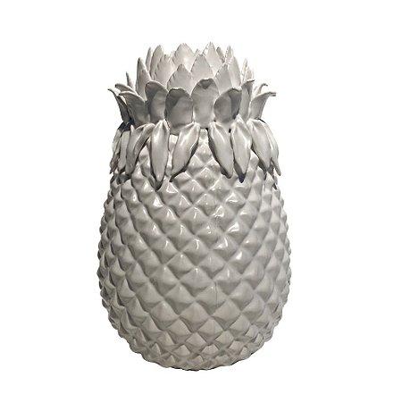 Vaso Cerâmica Branca Abacaxi