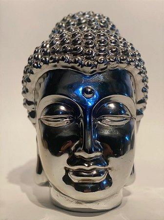 Cabeça Budha Fibra Prateada