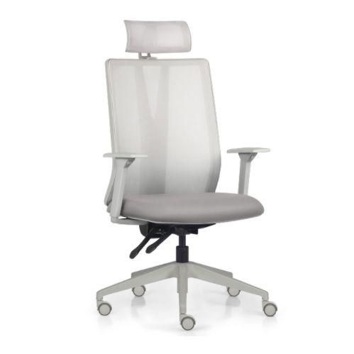 Cadeira Ergonômica Frisokar Addit Presidente CINZA, Base Nylon, Rodinha em PU e Pistão Classe 4