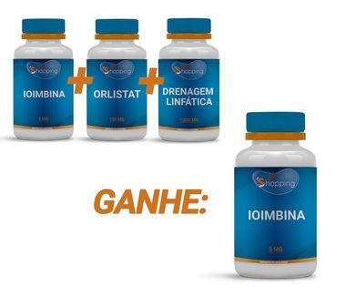 KIT 1 Pote de Orlistat + 1 Pote de Ioimbina  + 1 Pote de Drenagem Linfática e Ganhe 1 Pote de Ioimbina  - Bioshopping