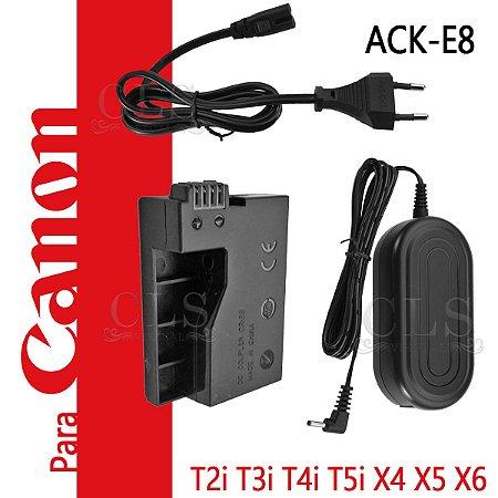 Fonte Ack-e8 Adaptador Ac P/ Canon Eos Rebel T2i T3i T4i T5i Adaptador Alimentação Streaming Lives Substitui Bateria Studio EOS Kiss X4 X5 X6 X7i