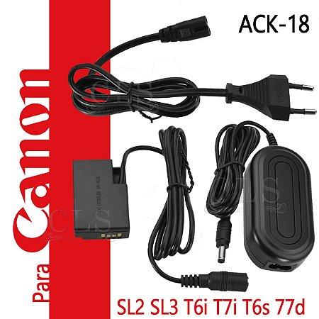 Fonte Ack-e18 Adaptador Ac P/ Canon SL2 SL3 T7i T6s 77D 750D 760D EOS Kiss X8i X9i e 8000D Bateria Carga Tomada Carregador ACK-E18 Adaptador Substitui Bateria para lives Streaming Studio