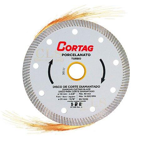 Disco Diamantado Cortag Porcelanato 110mm x 20mm Turbo