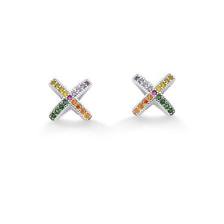 Brinco Mini Rainbow Em ''X'' Colorido - Prata 925