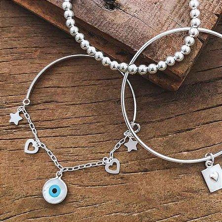 Pulseira Bracelete Com Corrente Olho Grego - Prata 925