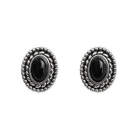 Brinco Oval Com Pedra Onix - Prata 925