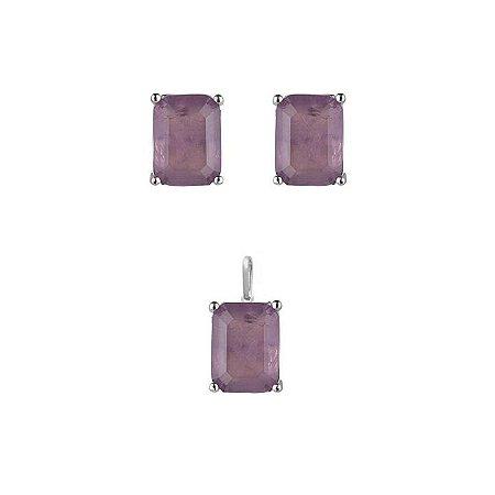 Conjunto Brinco E Pingente Zirconia Rosa - Prata 925