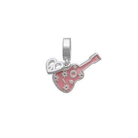 Berloque Guitarra Rosa Paz - Prata 925