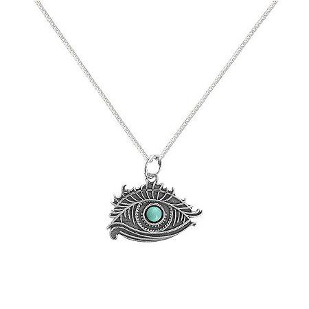 Colar Olho De Horus Com Pedra Turquesa - Prata 925