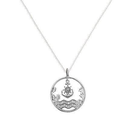 Colar Mar Com Ancora Cravejado Com Zirconias - Prata 925