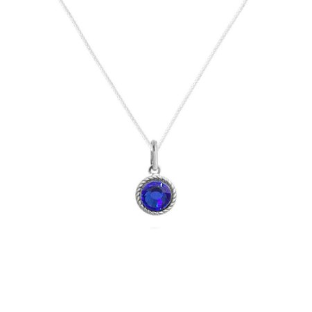 Colar Pedra Chaton Azul - Prata 925