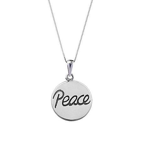 COLAR MEDALHA PEACE - PRATA 925