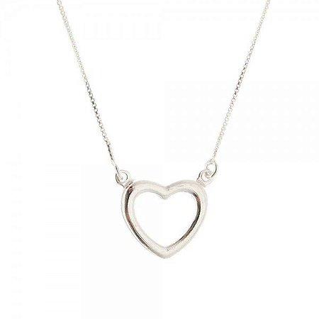 Gargantilha Coração Vazado - Prata 925