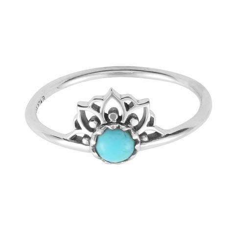 Anel Coroa Turquesa - Prata 925