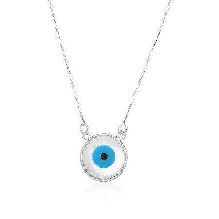 Colar Olho Grego Perolado - Prata 925