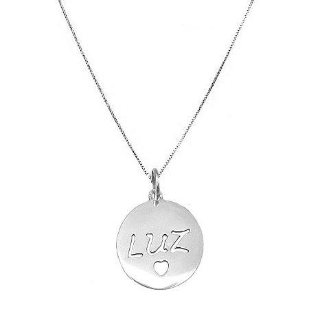 Colar Medalha Luz - Prata 925