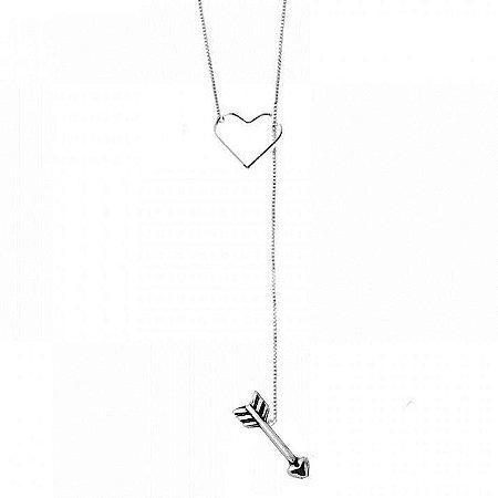 Colar Gravatinha Coração E Flecha - Prata 925