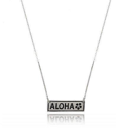 Colar Aloha Com Flor Havaiana - Prata 925