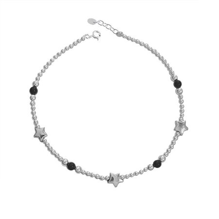 Pulseira Miçanga Onix Com Estrelas - Prata 925