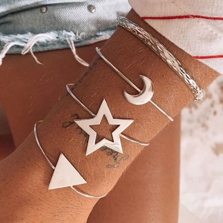 Bracelete Aberto Triangulo - Prata 925