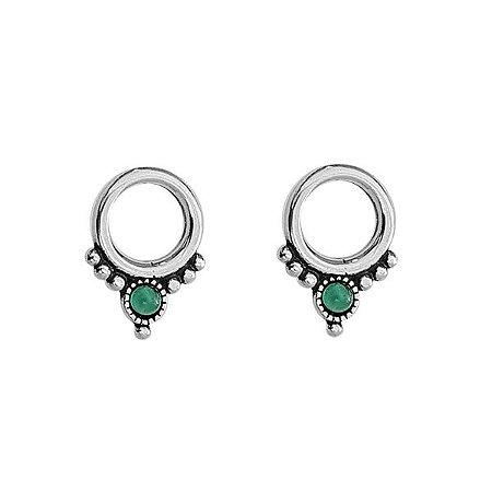 Brinco Simbolo Quatro Elementos Verde - Prata 925
