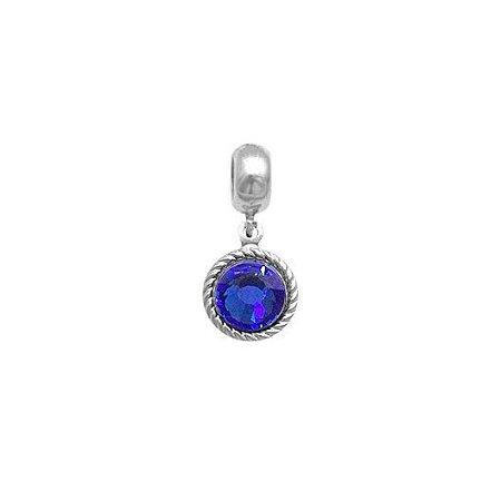 Berloque Zirconia Azul - Prata 925