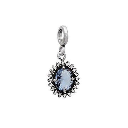 Berloque Oval Com Zirconias Azul - Prata 925