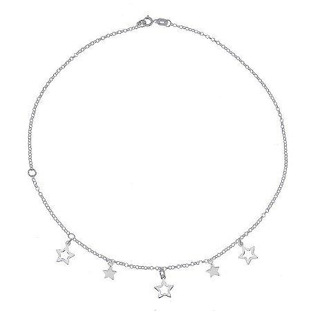 Tornozeleira Com Pingentes De Estrelas - Prata 925