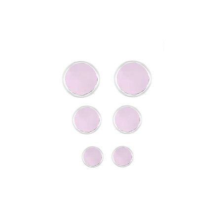 Cartela Três Brincos Zirconia Rosa - Prata 925