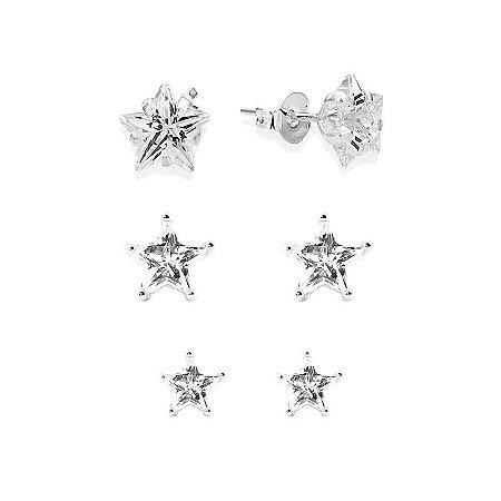 Cartela Três Brincos Estrelas Zircônia - Prata 950