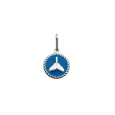 Pingente Redondo Cauda De Sereia Azul - Prata 925